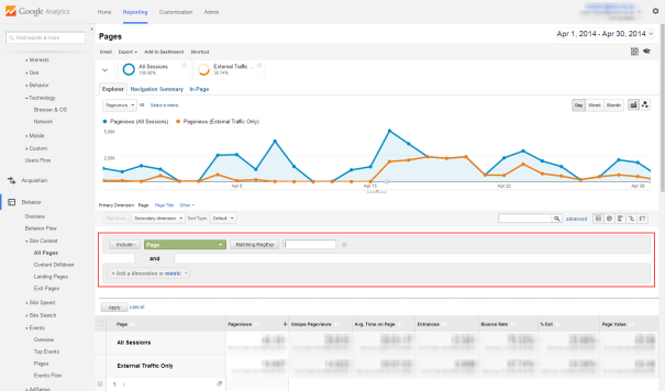 Google Analytics advanced filter screen