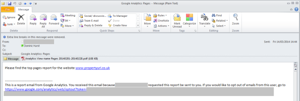 Google Analytics Email Example