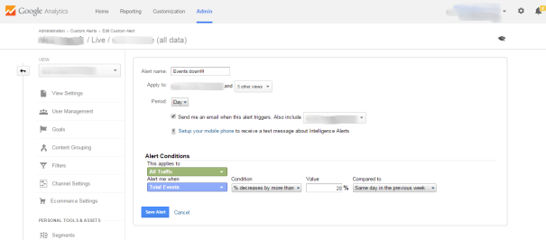 Google Analytics customized alerts events loss
