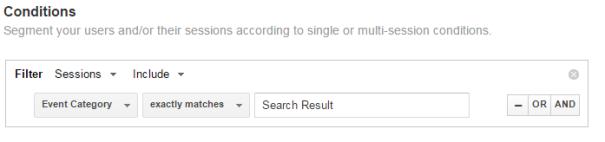 Segmentation edit conditions filter - Google Analytics