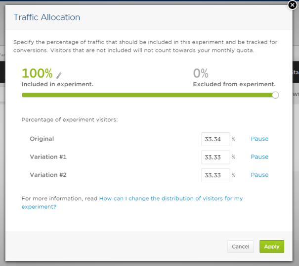optimizely traffic allocation screen
