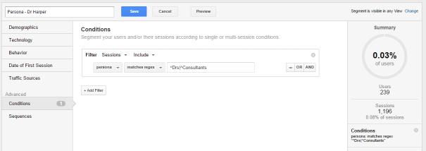 Google Analytics create persona segment