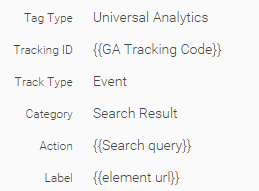 Google Tag Manager search result tag