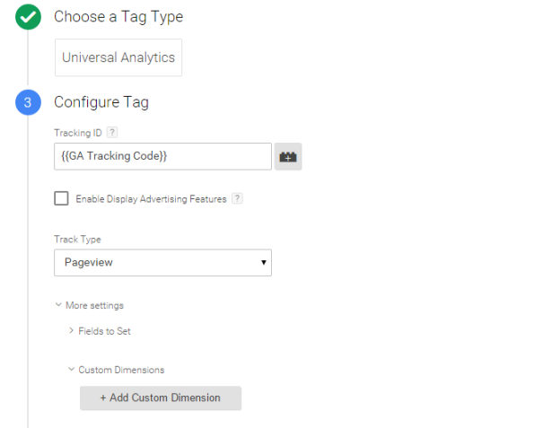 Google Tag Manager universal analytics tag custom dimensions