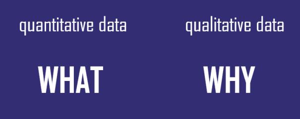 quantitative data - what; qualitative data -why