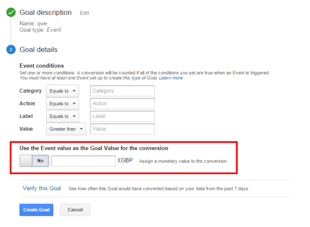 Goal Value Google Analytics