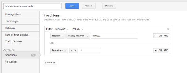 Building Segments on bounces Google Analytics