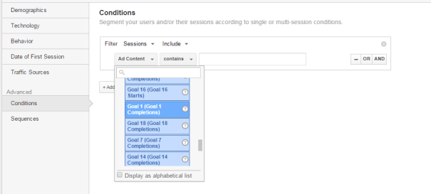 Building Segments using Goal Completions Google Analytics