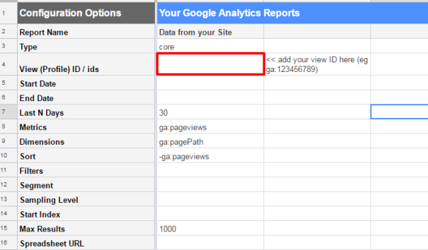 Adding a view ID in google sheets google analytics api