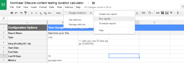 Running a report in Google sheet with Google analytics api