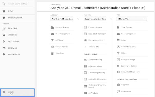 Google Analytics admin screen
